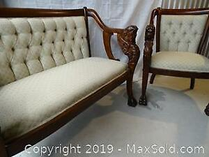 Sphinx Settee and Chair Set -- Circa 1880-90