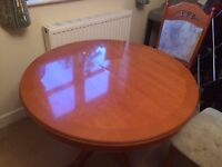 Extendable Cherry Wood Dining Table and Chairs