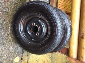 2 mini sized wheels for trailer.