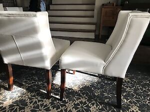 6 white leather Wing Back Low Dining Chair