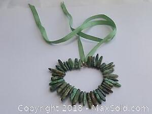 Unique Necklace Of. Ribbon and Green Turquoise Stones