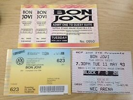 Collectable Bon Jovi concert tickets x 3, 1993, 1996, 1996