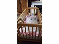 Lovely beech cot with adjustable height by Global Nusery products - Anna cot bed