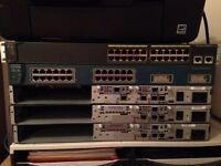 CISCO. CCNA CCNP Lab Starter kit. 3 routers, 2 switches, for sale, all power and cables provided