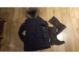 COAT GIRL 8-9 YEARS AND BOOTS UK 2 .