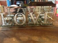 LOVE mirrored candle holder with original box