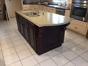 Beautiful Cherry Kitchen Island with Zodiaq Counter