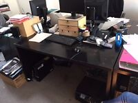 4 Black office desks in fantastic condition - FREE - PICK UP only - SOHO - pick up weekdays 10-5pm