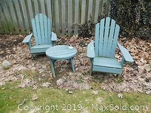 Pair Of Muskoka Chairs And Side Table - B