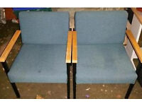 Pair of low padded reception style seats
