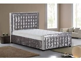 Cream/Mink / Silver Crushed Velvet Bed Frame Double Bed/ King Size Bed Brand New in The Box