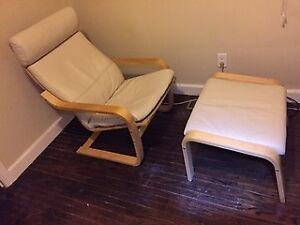 IKEA WHITE LEATHER POANG CHAIR AND MATCHING FOOTSTOOL