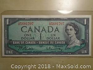 1954 Canadian One Dollar Banknote