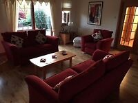 For Sale - 3 seater, 2 seater and matching chair - Red fabric