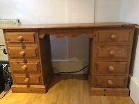 pine desk with 8 draws