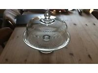Anchor glass cake stand with glass dome lid beautiful quality 3 avaliable.