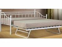 """2FT 6"""" WHITE METAL DAY BED WITH UNDER TRUNDLE-NEVER BEEN ASSEMBLED"""
