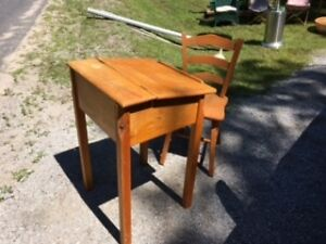 Antique Childs School Desk and Chair