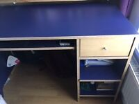 Ikea computer desk with keyboard tray, draw and two shelves