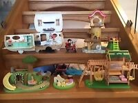 Sylvanian Families JOB LOT - Including play garden, tree house, motorbike, caravan, etc.