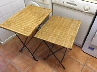 Wicker and wrought iron folding side/lamp tables x 2 (not a matching pair)