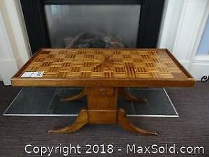 Parquet Topped Table. A