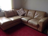 Tan leather corner sofa couch