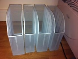 4 metal mesh magazine holders / desk tidy