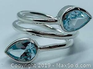 Ladies 925 Silver Ring Size 9 with Blue Topaz