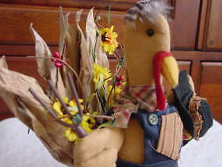 Turkey Sitter - Country Farmer TURKEY Table Sitter ~ Thanksgiving ~ NEW w sunflowers & pip berry