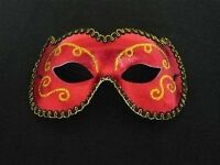 STUNNING RED AND GOLD MASQUERADE BALL MASK - NEW