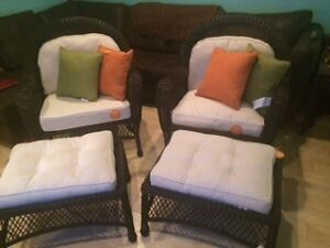 Two Brand New Oversized Wicker Chairs and Foot stools for sale!