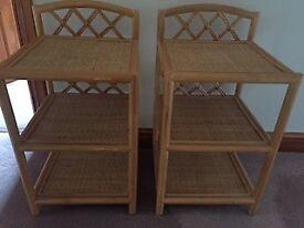 Cane bedside tables