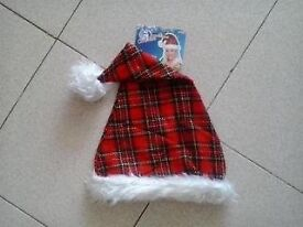 TARTAN SANTA CHRISTMAS HAT - LADIES - NEW WITH TAGS