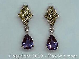 Beautiful 925 Stamped Silver Amethyst and Peridot Drop Earrings