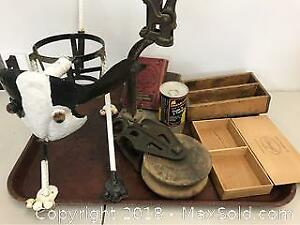Group Includes Dog Pot Holder, Pulley, Boxes, Tin