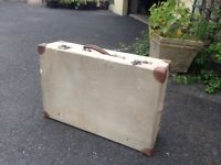 1940s Vintage, Linen covered suitcase, with leather corners
