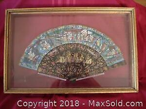 19th century Hand Painted Thousand Faces Framed Fan