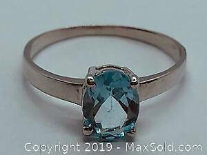 Ladies 925 Silver Ring with Blue Topaz 1.5ct Size 7.5