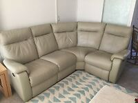 As new leather corner sofa with electric recliners