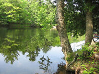 0.56 acre lot 101' on Muskoka river near Bracebridge 2hr N of TO