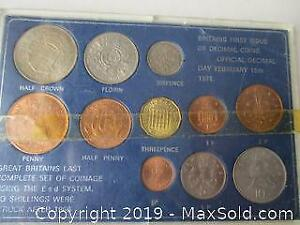 Great Britains Last Complete Set Of Coinage Using The Pound System 1966 With Britains First Issue Of Decimal Coins 1971.