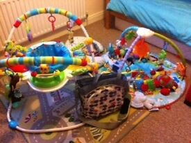 Bright Starts Jumperoo, Fisher Price Baby gym & assorted toys with designer changing bag lot