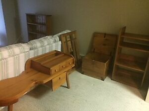 Gorgeous solid pine furniture: bookcases, chests, bench, mirror