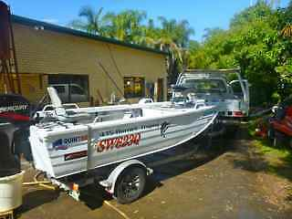 QUINTREX HORNET TROPHY TINNY- 50HP MOTOR plus TRAILER & extras McDowall Brisbane North West Preview