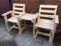 New wood garden chairs , double , love seat , with table