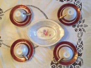 Vintage Floral Tea Cups with Saucers and an Oval Serving Bowl