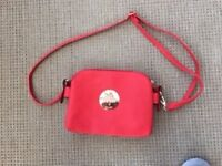Red Faux leather crossbody bag with Mulberry logo