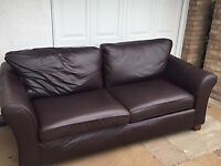 Leather - large 2-seater M&S soft dark brown sofa.