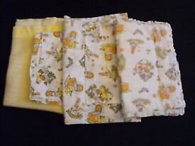A Selection of BABY BEDDING- Pram Quilt+Blankets+Sheets+Pillow Case in RABBIT/BEARS print